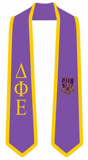 DISCOUNT-Delta Phi Epsilon Greek 2 Tone Lettered Graduation Sash Stole