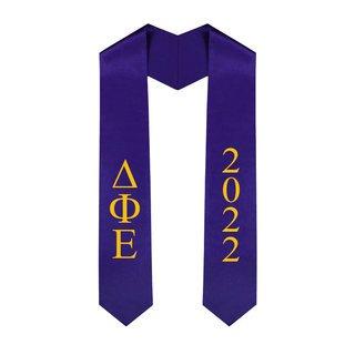 Delta Phi Epsilon Greek Lettered Graduation Sash Stole With Year - Best Value