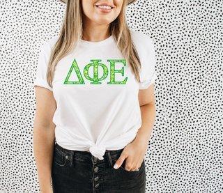 Delta Phi Epsilon Green Fizz Lettered Short Sleeve T-Shirt