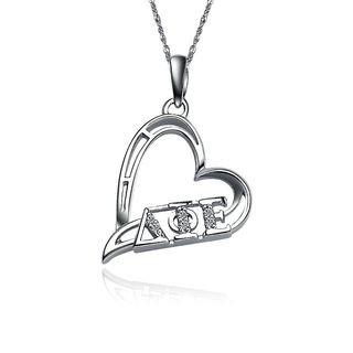 Delta Phi Epsilon Heart Silver Lavalier