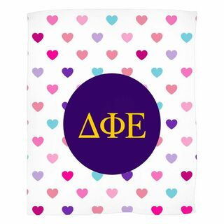 Delta Phi Epsilon Hearts Fleece Blanket