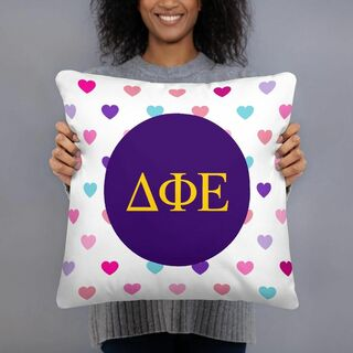Delta Phi Epsilon Hearts Pillow
