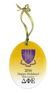 Delta Phi Epsilon Holiday Color Crest - Shield Glass Ornament