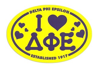 Delta Phi Epsilon I Love Sorority Sticker - Oval