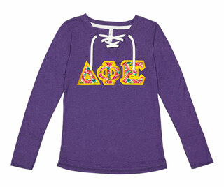 Delta Phi Epsilon LAT - Sorority Fine Jersey Lace-Up Long Sleeve T-Shirt