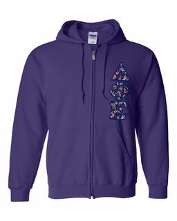 "Delta Phi Epsilon Lettered Heavy Full-Zip Hooded Sweatshirt (3"" Letters)"