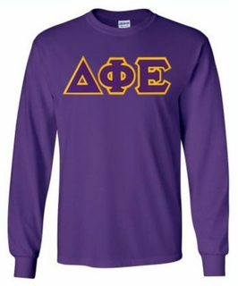 Delta Phi Epsilon Lettered Long Sleeve Tee- MADE FAST!