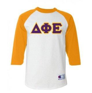 DISCOUNT-Delta Phi Epsilon Lettered Raglan Shirt