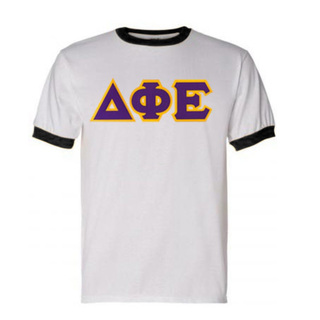 DISCOUNT-Delta Phi Epsilon Lettered Ringer Shirt