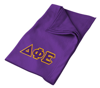 DISCOUNT-Delta Phi Epsilon Lettered Twill Sweatshirt Blanket