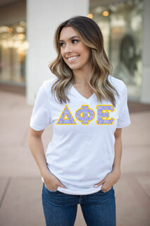 DISCOUNT-Delta Phi Epsilon Lettered V-Neck Tee