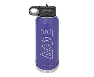 Delta Phi Epsilon Letters Stainless Water Bottle