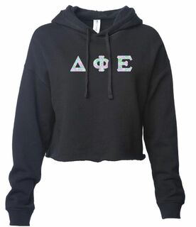 Delta Phi Epsilon Lightweight Hooded Pullover Crop Sweatshirt