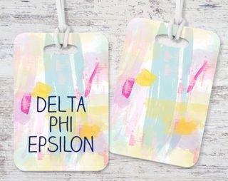 Delta Phi Epsilon Watercolor Luggage Tag