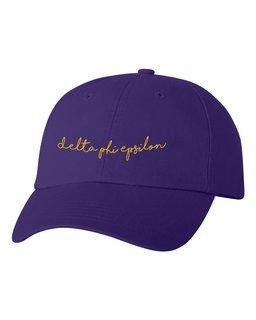 Delta Phi Epsilon Smiling Script Greek Hat