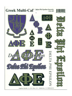 Delta Phi Epsilon Multi Greek Decal Sheet