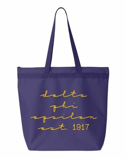 Delta Phi Epsilon New Script Established Tote Bag
