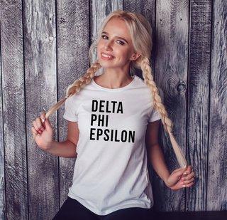 Delta Phi Epsilon Left Align T-Shirt
