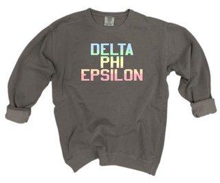 Delta Phi Epsilon Pastel Rainbow Crew - Comfort Colors