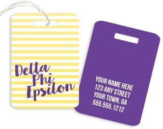 Delta Phi Epsilon Personalized Striped Luggage Tag