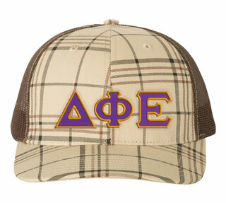 Delta Phi Epsilon Plaid Snapback Trucker Hat
