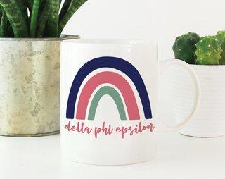 Delta Phi Epsilon Rainbow Mug