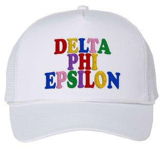 Delta Phi Epsilon Rainbow Trucker Hat