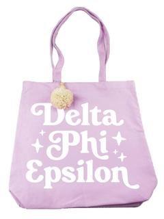 Delta Phi Epsilon Retro Pom Pom Tote Bag