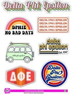 Delta Phi Epsilon Retro Sticker Sheet