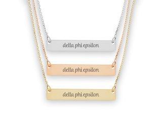 Delta Phi Epsilon Script Bar Necklace