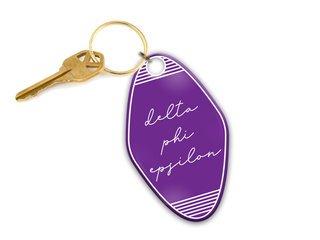 Delta Phi Epsilon Script Motel Keychain
