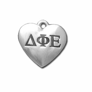 Delta Phi Epsilon Silver Greek Heart Charm