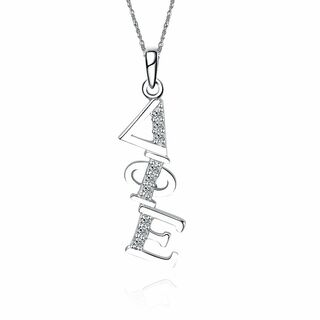 Delta Phi Epsilon Sterling Silver Diagonal Lavaliere set with Lab-Created Diamonds