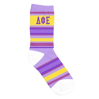 Delta Phi Epsilon Striped Crew Socks