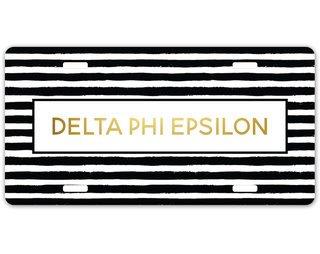 Delta Phi Epsilon Striped Gold License Plate