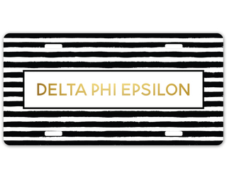 Delta Phi Epsilon Striped Gold License Plate