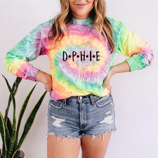 Delta Phi Epsilon Tie-Dye Minty Rainbow Long-Sleeve T-Shirt