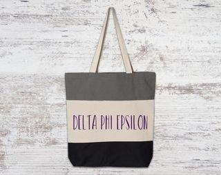 Delta Phi Epsilon Tri Color Tote Bag