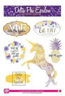 Delta Phi Epsilon Water Color Stickers
