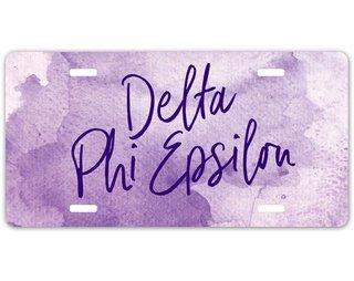 Delta Phi Epsilon Watercolor License Plate