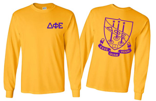 Delta Phi Epsilon World Famous Crest Long Sleeve T-Shirt- MADE FAST!