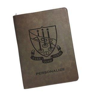 Delta Phi Epsilon Zipper Leatherette Portfolio with Notepad