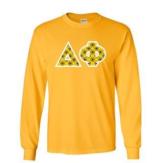 Delta Phi Fraternity Crest - Shield Twill Letter Longsleeve Tee