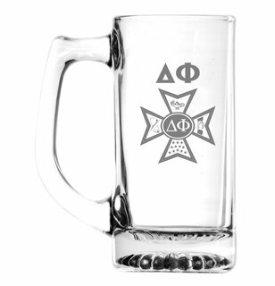 Delta Phi Glass Engraved 25 Ounce Mug