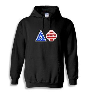 Delta Phi Greek Letter American Flag Hoodie