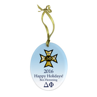 Delta Phi Holiday Color Crest - Shield Glass Ornament