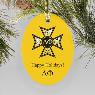 Delta Phi Holiday Color Crest - Shield Ornament
