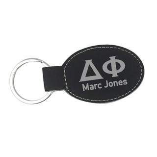 Delta Phi Leatherette Oval Keychain