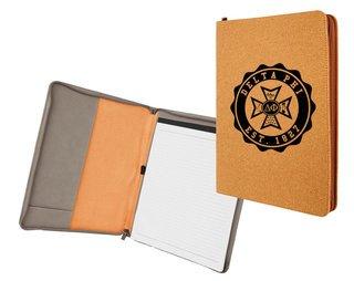 Delta Phi Leatherette Zipper Portfolio with Notepad
