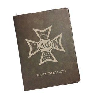 Delta Phi Zipper Leatherette Portfolio with Notepad
